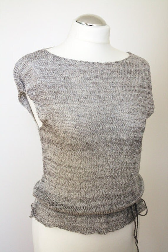 Knitted summer linen blouse