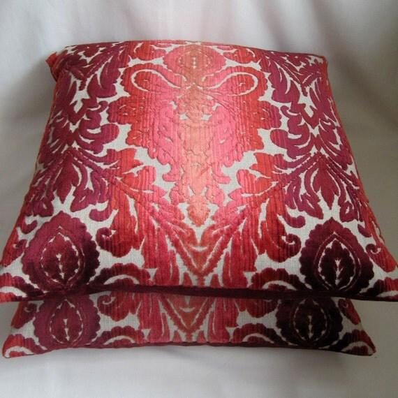 """22"""" Square Cushion Cover: DAMASK VELVET - Red & Orange"""