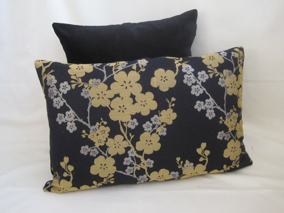 "16"" x  24"" Rectange Cushion Cover: BLOSSOM FLOWERS- Metallic Bronze &Gold on Black"
