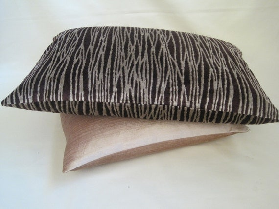 "RESERVED - LAUREN ARNOLD   24"" x 16"" Cushion Cover / Sham:  Zebra - Plum / Light Beige striped velvet, Large Rectangle / Lumber Cover."