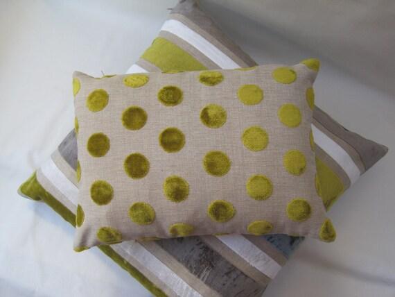 Lumber cushion cover VELVET SPOTS in CITRINE lime zest or lemongrass. Raised velvet spots pillow sham in designer fabric.