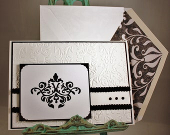Greeting Card: Damask on Damask - Blank Inside