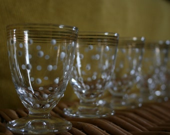 Cute 80's Polka-Dot Cordial Glasses