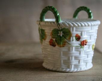 S A L E - Hand-Painted Ceramic Basket - Strawberry Plants