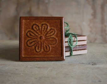 Retro 70's Tile Coasters - Set of 4