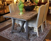 Old Wood Sawhorse Dining Table Built in Solid Reclaimed Wood Salvaged From Old Homes in Los Angeles
