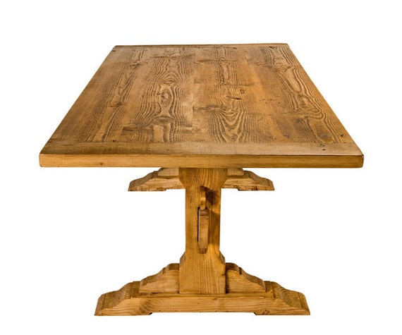 Custom Recycled Wood Trestle Dining Table Handmade in Los Angeles