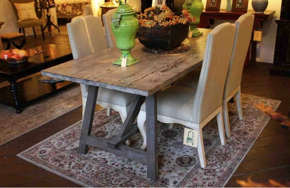 Old wood sawhorse dining table built in solid reclaimed wood for Salvaged wood los angeles
