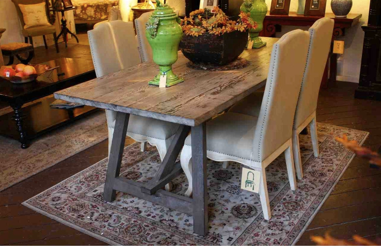 Old wood sawhorse dining table built in solid reclaimed wood for Reclaimed wood flooring los angeles
