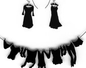 necklace and earrings set - laundry hanging on clothesline black
