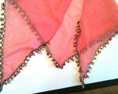 Vintage 50s Pink Silk Tatted Scarf