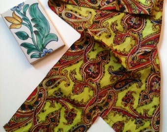 Vintage Retro Scarf 70s Paisley Lime Green  Scarf