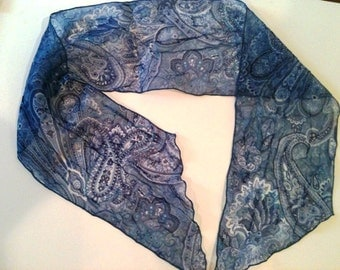 Blue Paisley Sheer Vintage Scarf or Hair Accessory