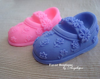 10 BOOTIE SOAPS {Favors} - Little Shoe Soap Favors, Birthday Favor, Baby Shower Favor, Mary Jane Style Soaps, Flowers