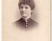 Vintage/Antique cabinet photo of  woman with a curly hair