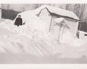 Vintage/Antique photo of  a woman and tons of snow