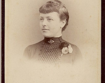Vintage/ Antique Cabinet Photo of a Woman with short bangs fringe