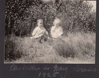 1925 Vintage/Antique photo of two adorable babies in the woods