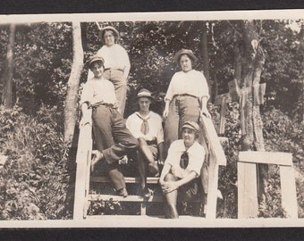 Vintage/Antique photo of 5 women on a wooden steps