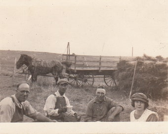 Vintage/ Antique photo of three men, woman and a horse