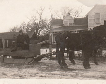 Vintage/ Antique photo of a couple on a wooden sled pulled by donkeys