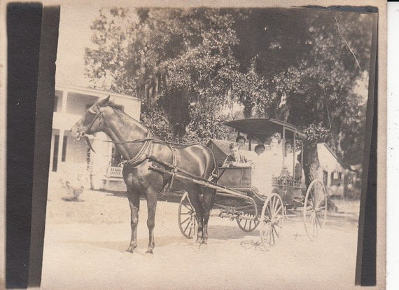 Vintage/Antique photo of people in a beautiful horse carriage