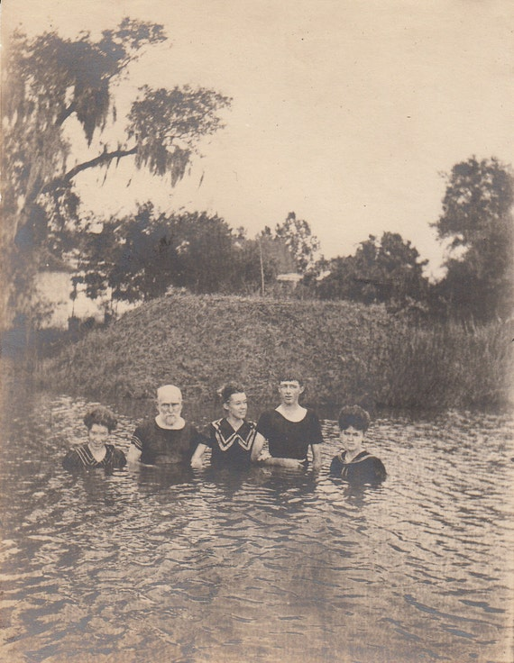 Vintage/ Antique Photo of people in a lake in their vintage bathing suits