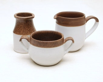 Cream & Sugar Set: Denby Stoneware (Set of 3) - Pitcher / Creamer / Mug, Made in England, Two Tone Color, Beige and Brown