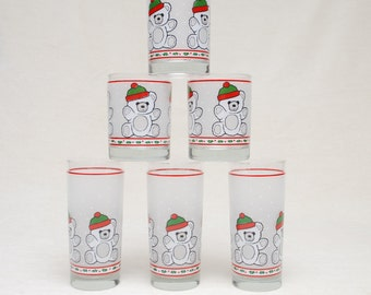 Holiday Teddy Bear Glasses - Set of 6