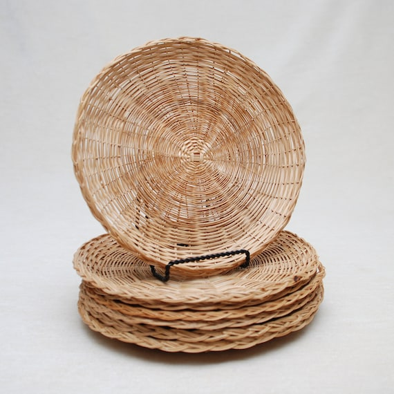 Wicker Paper Plate Holders- Group Of 7