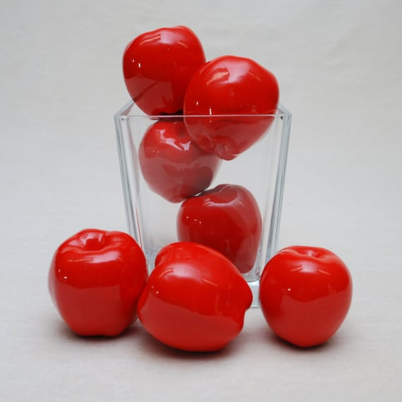 Red Apples - Ceramic - Group of 7