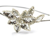 Silver Sequin Flower VINTAGE APPLIQUE on a Skinny Silver Metal Headband
