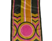 Vintage 1970s Funky Retro Long Rectangle in Hot Pink, Chocolate Brown, Olive Green, and Pumpkin Orange