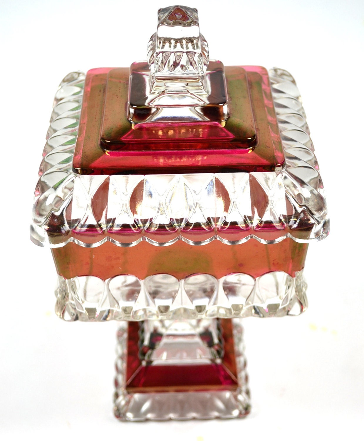 Vintage Cranberry Red Glass Wedding Cake Box Serving Candy