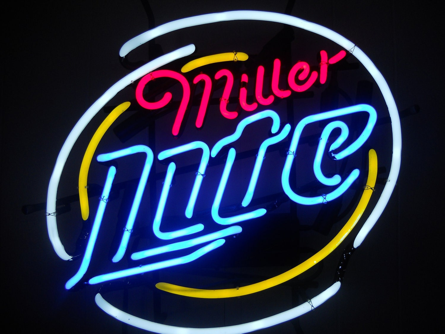Vintage Miller Lite Club Style Neon Bar Sign by
