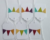 Gift Tags with Bunting Flag in Rainbow Bright