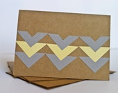 Chevron Stationery Cards Set Yellow and Grey