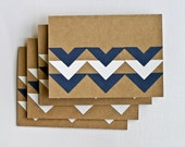 Kraft Paper Cards Masculine Stationery Paper Pieced Cards Navy and White Notecards Blank Card Set Manly Notecards Chevron Stationery