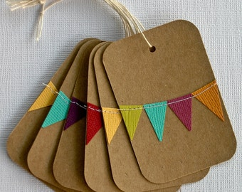 Party Favor Tags, Rainbow Birthday Tags, Wedding Favors, Kraft Paper Tags, Holiday Gift Tags, Bunting Flag Stationery, Colorful Paper Goods,