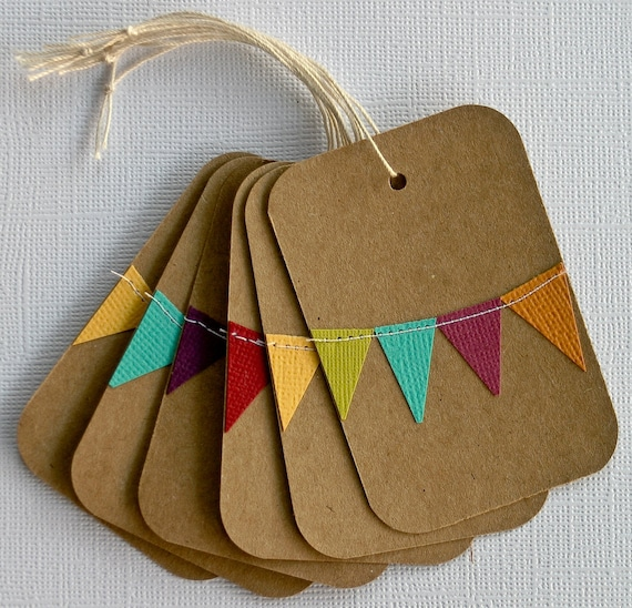 Custom Gift Tags with Bunting Set of 10--You Choose the Colors