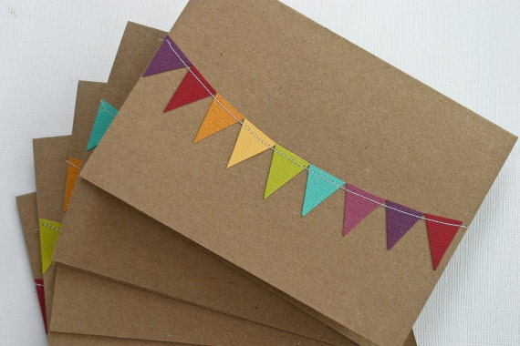 Rainbow Notecards, Kraft Paper Cards, Thank You Card Set, Colorful Birthday Cards, Personal Stationery, Teacher Gifts, Gifts Under 10,