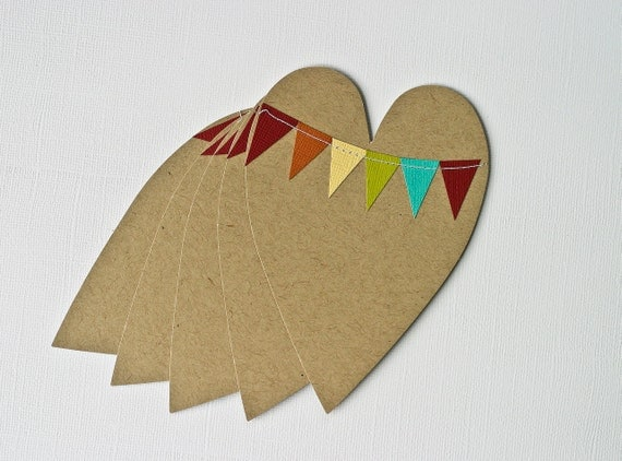 Stationery Cards Hearts Bunting Flag
