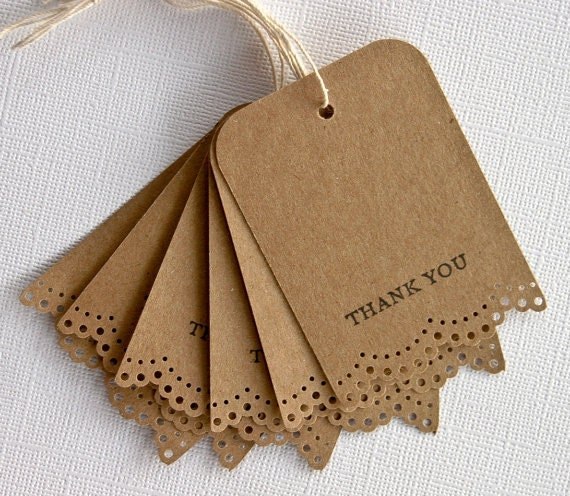 Wedding Favor Gift Tags Thank You Lace Trim Set of 25