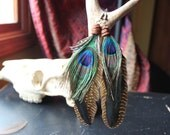 Desert Suede and Wire Wrapped Peacock Feather Earrings