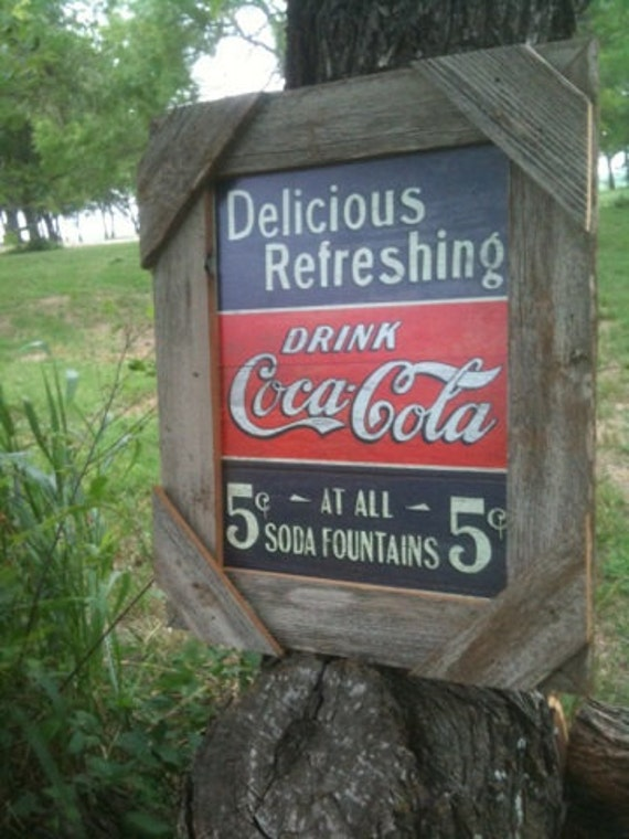 "Rustic barnwood coca cola tin sign framed 21"" x 17"" coke"