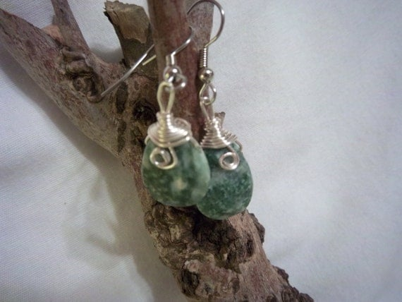 Pretty Tree Jasper earrings, dangles, wire-wrapped, silver coils, green and cream colors