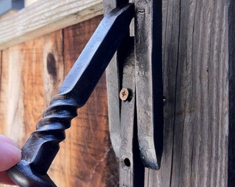 Hand forged iron DOORKNOCKER from mine spikes, industrial rustic decor, door hardware