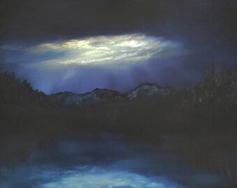 Twilight. Original Oil Landscape 18 X 24. mountain, lake, sunset, night