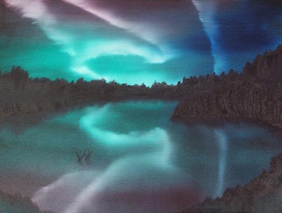 Alaska Skies. Original Oil Landscape 18 X 24. night, lake, alaska, aurora borealis