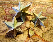 Upcycled Atlas Map Vintage Paper Star Mobile- Made with paper from 1963 Readers Digest Atlas First Edition
